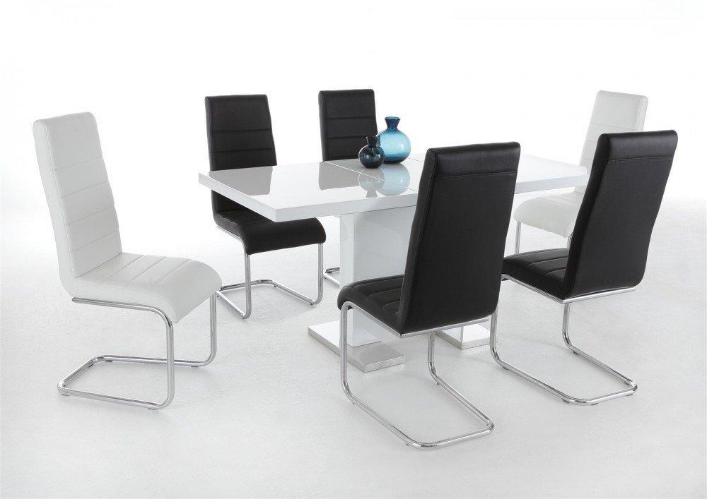INSPIRER STUDIO ILIS Extendible Dining Table Pedestal Table MDF High-Gloss White