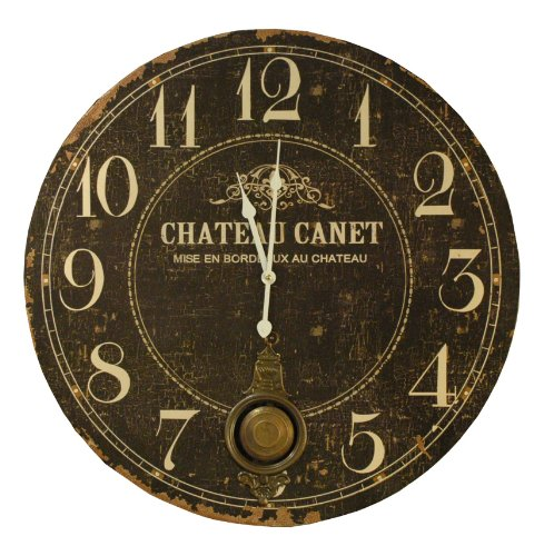 Chateau French Country Antique Brass Large Wall Clock