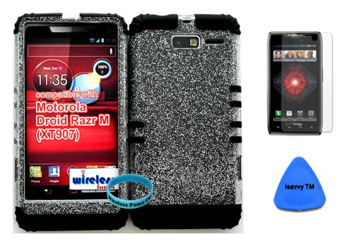 Hybrid Cover Bumper Case For Motorola Droid Razr M (Xt907, 4G Lte, Verizon) Clear Glitter Snap On + Black Silicone (Included Wristband, Screen Protector And Pry Tool By Wirelessfones)