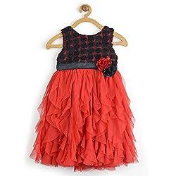 Beautiful Awsome Hot Red and Black Water Fall Dress -Multi, 5-6 Years