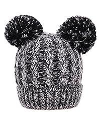 Novias Super Cute Kids Baby Toddler Winter Warm Hat Balls Wool Knitted Cap Hat Beanie(Black)