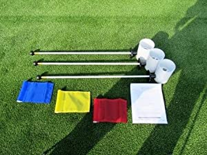 Deluxe Putting Green Accessory Kit - 3 Plastic 6 Inch PGA Cups & 3 Pin Markers w... by TJB