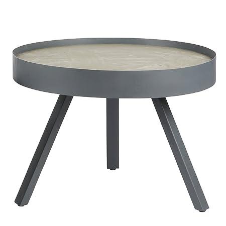 Vintage Couchtisch SKIP Ø 58 cm Metall Beton Sofatisch Beistelltisch Tisch
