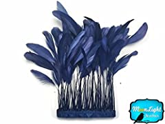 Coque Feathers, 1 Dozen Stripped Coque Tail Feathers Navy Blue