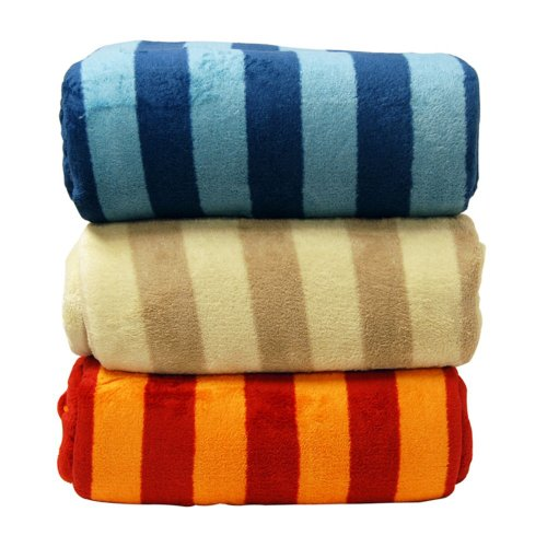 Luxury Printed Striped Micro Plush Blanket Size: Full / Queen, Color: Orange / Red front-167986