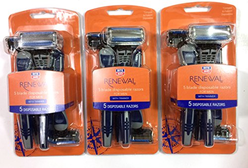 Rite Aid Renewal 5 Blade Disposable Razors for MEN with Trimmer, 3 Packs of 5 Each (Rite Aid 5 Blade Razor compare prices)