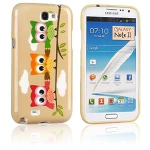 tinxi® Design Schutzhülle für Samsung Galaxy Note 2 II N7100 Hülle TPU Silikon Rückschale Schutz Hülle Silicon Case drei bunte Eule Owl Muster