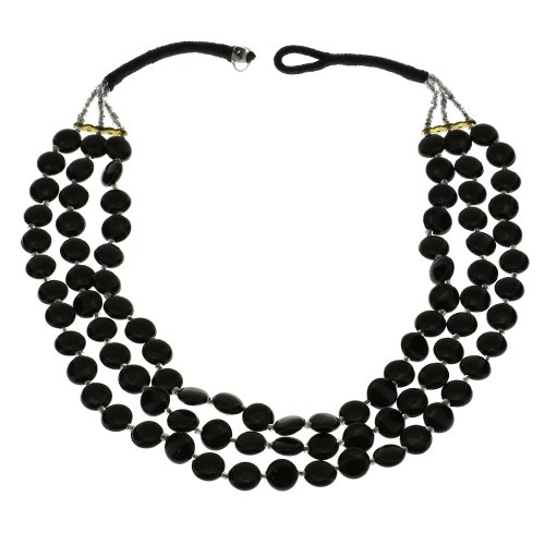 Black Beaded Necklace Indian Handmade Costume Jewelry Fashion