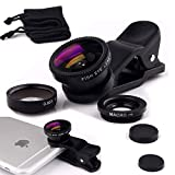 Luxsure® Universal 3 in 1 Camera Lens Kit Clip-On 180 Degree Supreme Fisheye + 0.65X Wide Angle+ 10X Macro Lens for iPhone 6s/6s Plus, iPhone 6/6 Plus,iPhone 5 5S 4 4S Samsung HTC Android (Black)
