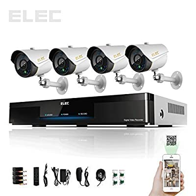 ELEC DVR Security Cameras Systems 960H HDMI 4 Day Night CCTV Cameras Surveillance System(Mobile e-cloud viewing,Multi-channel Playback, Email Alert,Motion Detection)