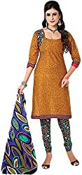VM Trendz Women's Cotton Un-Stitched Salwar Suit (VMT-DP1062, Brown & Rangoli)