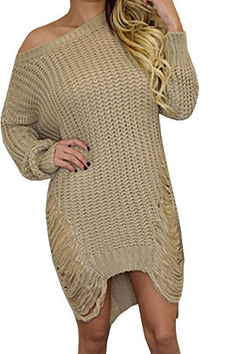 Chuanqi Women's Loose Hole Hollow Out Irregular Sweater (X-Large, Khaki)