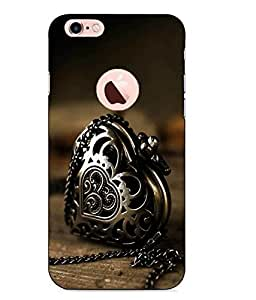 Snazzy Heart Printed Golden Hard Back Cover For Apple Iphone 6