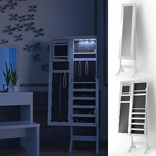 schmuckschrank spiegelschrank mit led beleuchtung standspiegel schmuckkasten spiegel louise. Black Bedroom Furniture Sets. Home Design Ideas