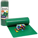 """Brick Building Play Mat by SCS- Rollable, Two Sided Silicone Mat - Works with Lego and Duplo- 32"""" Long for Activity Tables"""