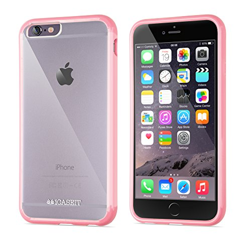 Custodia per iPhone 6s | iCASEIT EverClear Bumper Case [AIR CUSHION] with Clear Back Panel | Highly Durable, Super Strong, Non-Slip, Exact-Fit, Cushioned Corners & Premium Finish | BABY PINK