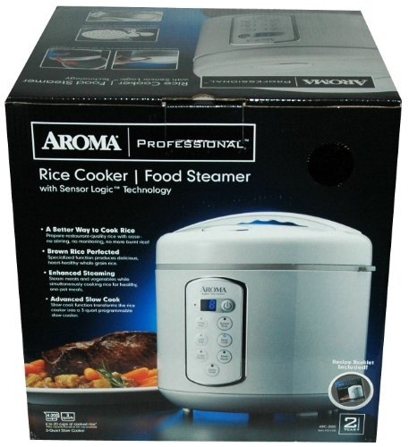 Aroma 3 Quart or 4-20 Cups Rice Cooker & Food Steamer with Sensor Logic Technology – Recipe Book Included