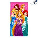 Disney Princess Bath and Beach Towel- Lovely Belle, Cinderella, Rapunzel, Sleeping Beauty, The Little Mermaid on towel