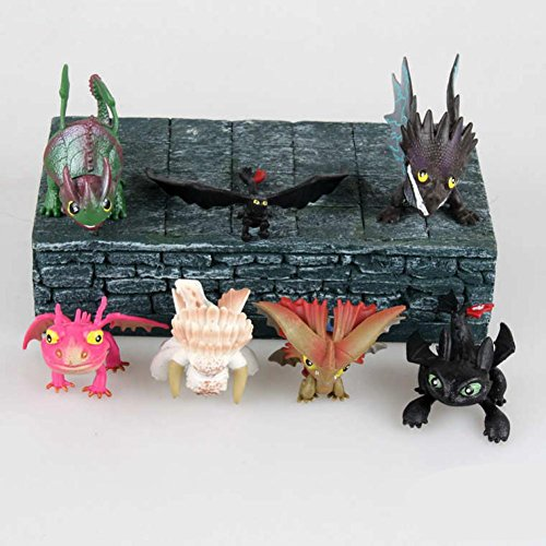 [Rosy Women How To Train Your Dragon 2 Dragon Toys Night Fury Toothless Pvc Action Figure Toys Dolls 7Pcs/Set] (Kids Toothless Night Fury Costumes)