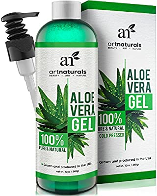 Art Naturals Aloe Vera Gel for Face, Hair & Body - Organic, 100% Pure Natural & Cold Pressed 12 Oz - For Sun Burn, Eczema, Bug or Insect Bites, Dry Damaged Aging skin, Razor Bumps and Acne
