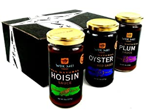 Wok Mei Gluten Free Sauce 3-Flavor Variety: One 8 oz Jar Each of Oyster Sauce, Hoisin Sauce, and Plum Sauce in a Gift Box