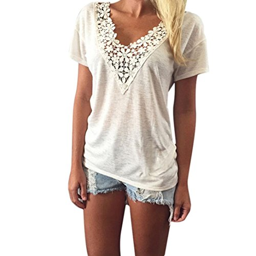 Fortan Le donne maglia di estate Top manica corta camicetta carro casuali parti superiori T-shirt in pizzo (Large)