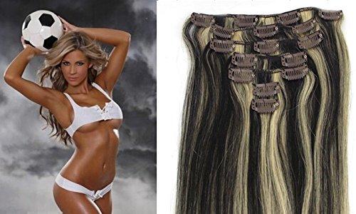"Echthaar Haarverdichtung Clip in Remy Haar Extensions Erganzungsset 15""/70g/7pcs/set #1b/#613-Natur schwarz/hellste Blondine"