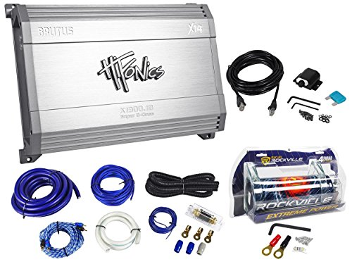 Package: Hifonics X1900.1D 1900 Watt Rms Mono Class D Car Audio Brutus X14 Series Amplifier With Wired Bass Control + Rockville Rwk01 Complete 0 Gauge Wire Kit With Rca Cables + Rockville Rxc4D 4 Farad/12 Volt Digital Power Capacitor