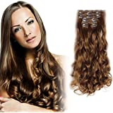"""Onedor 20"""" Curly or 24"""" Straight Full Head Kanekalon Futura Heat Resistance Hair Extensions Clip on in Hairpieces 7pcs 140g"""