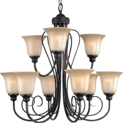 Perfect Royce Lighting RCES Fulton Collection Nine Light Energy Star Chandelier Oil Rubbed Bronze Finish with Sepia Tinted Glass