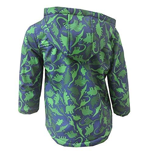 Outburst - Baby Jungen Softshelljacke gefüttert Regenjacke Winddicht und Wasserabweisend Dinomotiv, blau-grün - 80grün -
