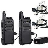 Retevis RT 22 Walkie Talkies Camouflage UHF 16CH VOX Scan Outdoor 2 Way Radios, 2 Pack & Covert Air Acoustic Earpiece, Black