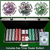 500 Casino Grade Ben Franklin 14 gram Poker Chips w/ Free Timer Dealer Button. Premium Composite Clay Poker Chips, Includes Aluminum Case.