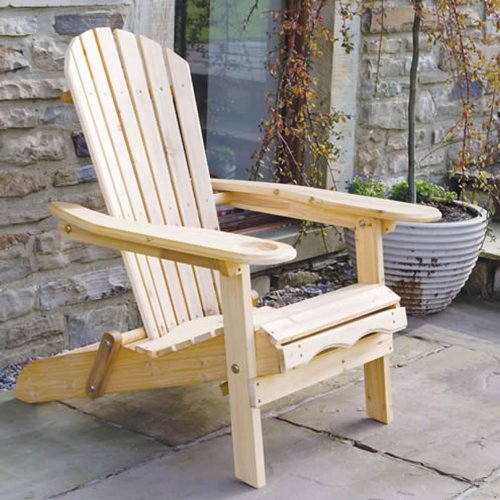 Trueshopping Garden Furniture / Patio Newby Wooden Adirondack Arm Chair / Lounger with pull out Leg Rest Durable & Easy To Store Away with Luxury Black One Piece Seat, Back and Head Cushion