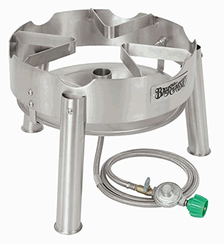 Bayou Classic Stainless Steel Propane Cooker Jet Burner Boils Water Fast Handles Large Pots