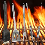 Harbor Creek 4-Piece Barbecue Grill Set- Stainless Steel Grilling Utensils- Heat Resistant Tool Handles- Dishwasher Safe- Accessories Include Spatula, Fork, Tongs & Scraper Brush (4 Piece Set)