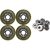 4-Pack Clear Silver 5-Spoke Inline Hockey Wheel 70mm 82a + ABEC 7 by TGM Skateboards
