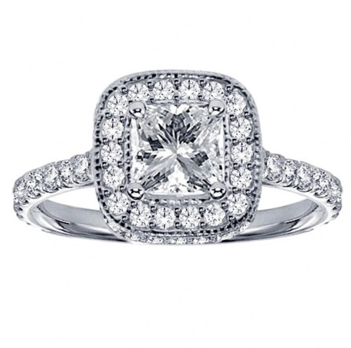 1.75 CT TW Pave Set Diamond Encrusted Princess