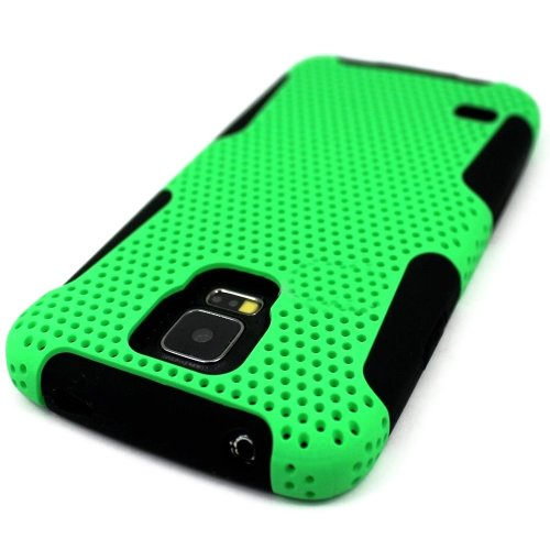 Mylife (Tm) Vibrant Lime Green And Dark Black - Perforated Mesh Series (2 Layer Neo Hybrid) Slim Armor Case For The New Galaxy S5 (5G) Smartphone By Samsung (External Rubberized Hard Shell Mesh Piece + Internal Soft Silicone Flexible Gel + Lifetime Warran