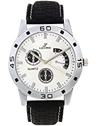 LUCERNE White Dial Black Leather Strap Analog Watch For Men
