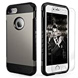 iPhone7CaseShockproof,SlimAnti-ScratchProtectiveKitwith [TemperedGlassScreenProtector]HeavyDutyDuallayerRugged CaseNon-slipGripProtectionCoverforiPhone7-Gunmetal