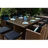 Polyrattan Sitzgruppe Toscana XL in beige-braun natur (Tisch 6 Sessel 3 Hocker)