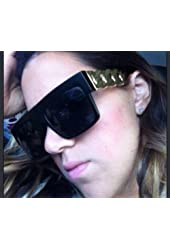 Celebrity Inspired Black Matte Gold Chain Link Sunglasses with High Quality Metal Arms