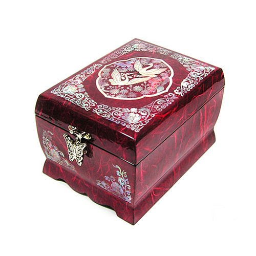 Wooden musical jewellery box with mirror, handmade mother of pearl gift, red crane