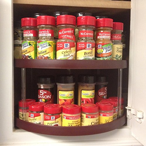 Stow n spin kitchen cabinet storage organizer 2 tier turntable wine d shape lazy susan spice - Spice rack for lazy susan cabinet ...