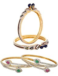 Jewels Galaxy Combo Of Peacock American Diamond Bangles And American Diamond Ruby Green Bangles - Pack Of 4 - B01IM369HY