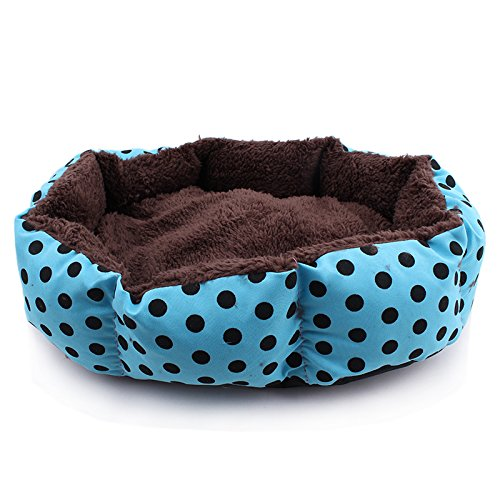 3s Pet Dog Puppy Cat Warm Bed House Plush Cozy Nest Mat Pad (Blue)