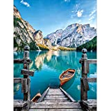 DIY 5D Diamond Painting by Number Kits, Crystal Rhinestone Embroidery Paint with Diamonds, Indoor Wall Decoration Gifts Arts and Crafts (Boat-Blue) (Color: Boat-Blue, Tamaño: 12X16INCH)