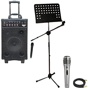 Pyle Speaker, Mic, Cable and Stand Package - PWMA1050 800 Watt VHF Wireless Battery Powered Pa System W/Echo/Ipod/MP3 Input Jack - PDMIK1 Professional Moving Coil Dynamic Handheld Microphone - PMSM9 Heavy Duty Tripod Microphone And Music Note Stand - PPMCL50 50ft. Symmetric Microphone Cable XLR Female to XLR Male