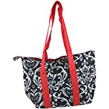 Insulated Lunch Tote (Black / White Floral With Red)